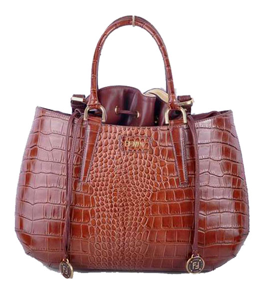 Fendi Large Coffee Croc Veins Leather Tote Bag