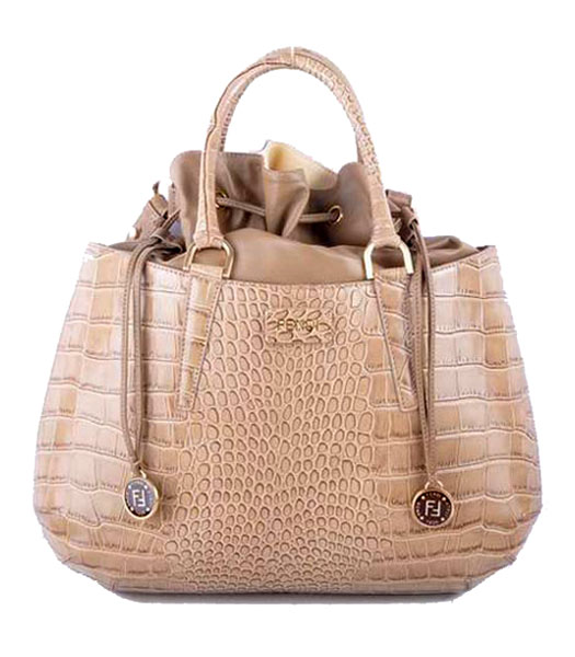 Fendi Large Khaki Croc Veins Leather Tote Bag