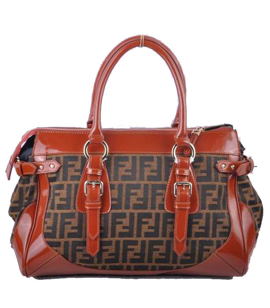 Fendi F Fabric With Coffee Leather Tote Bag