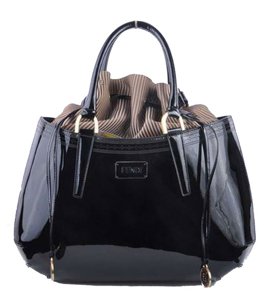 Fendi Large Black Patent Leather Tote Bag