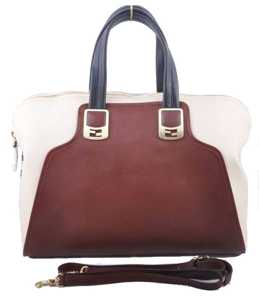 Fendi Coffee Ferrari Leather With Offwhite Leather Tote Bag