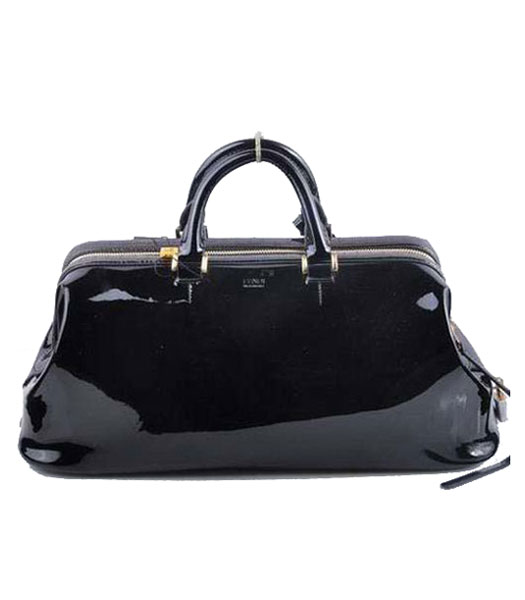 Fendi Long Frame Tote Bag With Black Patent Leather