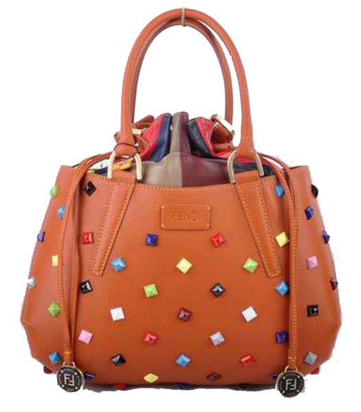 Fendi Medium Orange Jeweled Multicolor Leather Tote Bag