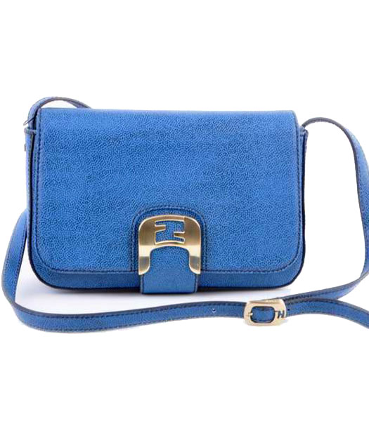 Fendi Chameleon Small Saddle Messenger Bag With Blue Caviar Leather