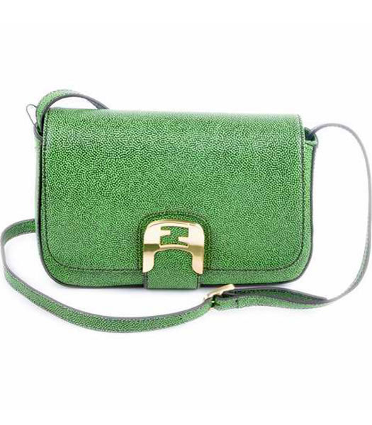 Fendi Chameleon Small Saddle Messenger Bag With Green Caviar Leather