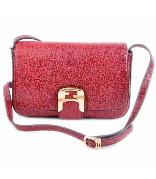 Fendi Chameleon Small Saddle Messenger Bag With Red Caviar Leather