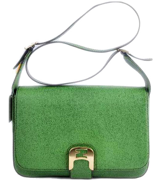 Fendi Chameleon Medium Saddle Messenger Bag With Green Caviar Leather