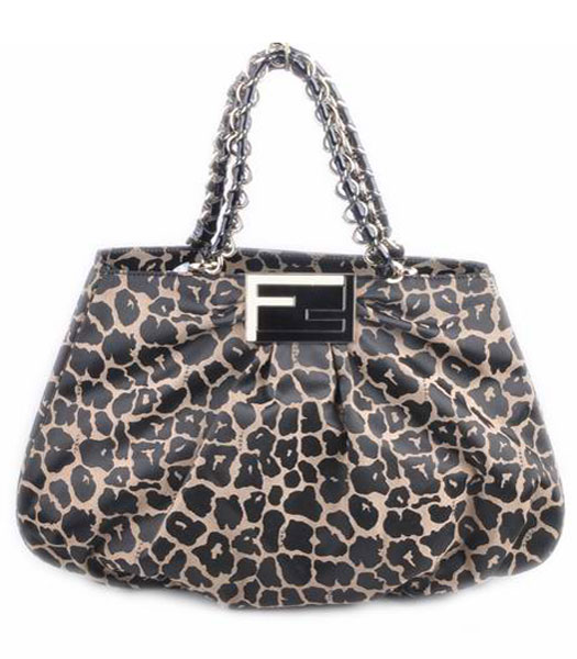 Fendi Leopard Fabric With Black Patent Leather Shoulder Bag