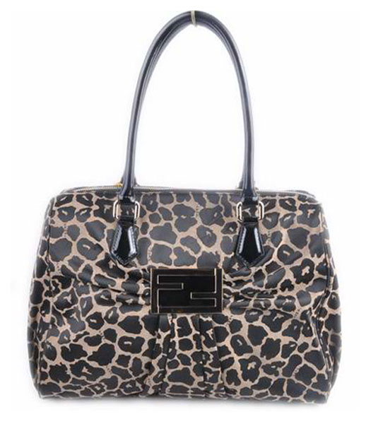 Fendi New Leopard Fabric with Black Patent Leather Handbag