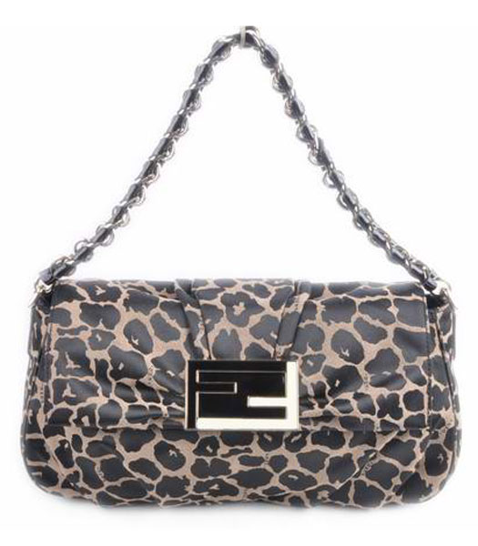 Fendi Leopard Fabric with Black Patent Leather Tote Shoulder
