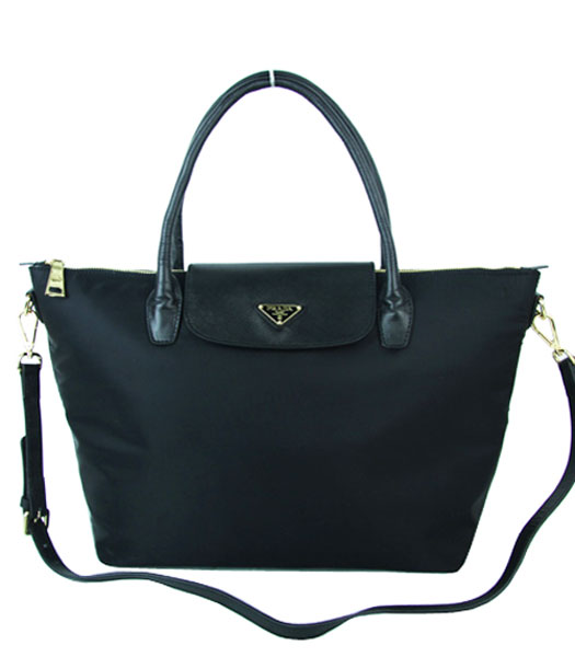 Prada Black Fabric With Calfskin Leather Business Tote Bag