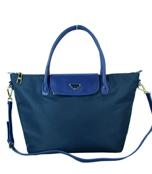 Prada Blue Fabric With Calfskin Leather Business Tote Bag