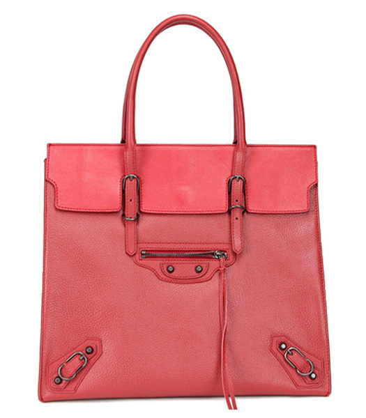 Balenciaga Papier Flap Bag Red Litchi Pattern Leather Copper Nails
