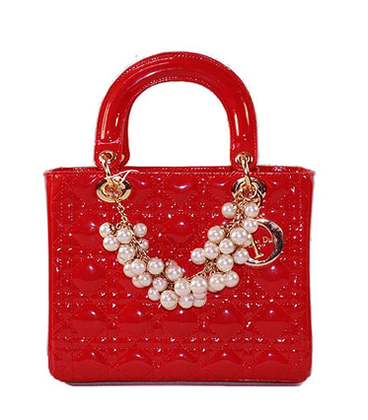 Christian Dior Small Red Patent Leather Tote With Golden Chain And Pearl