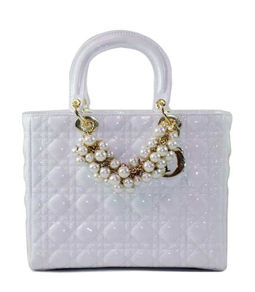 Christian Dior Medium White Patent Leather Tote With Golden Chain And Pearl
