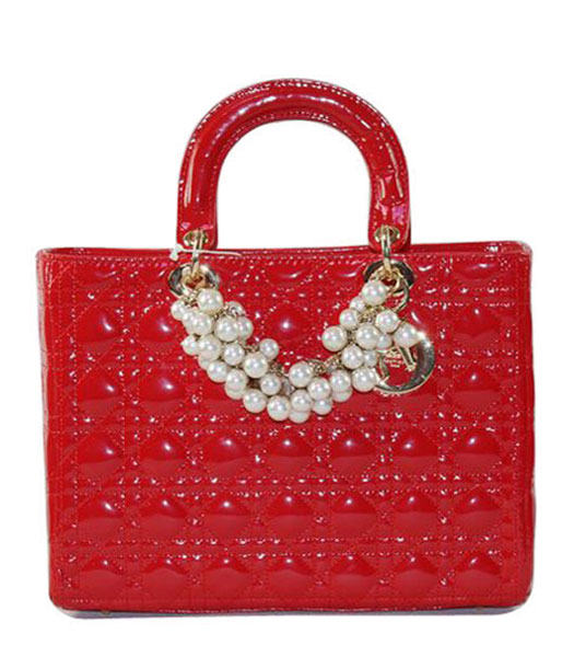 Christian Dior Large Red Patent Leather Tote With Golden Chain And Pearl