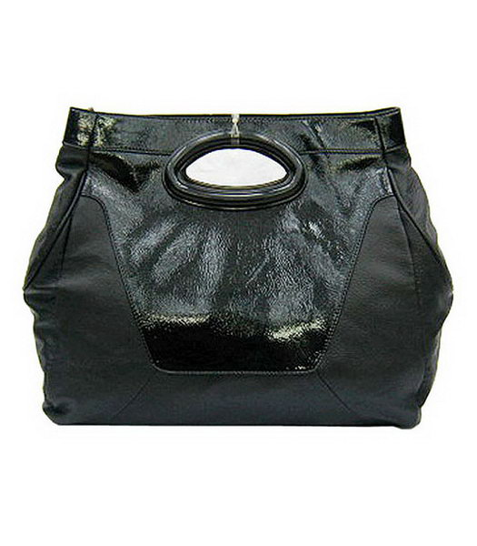 Marni Black Lambskin Rugosity Patent Medium Handbag