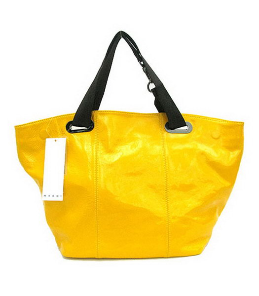 Marni Oversized Yellow Leather Tote Bag