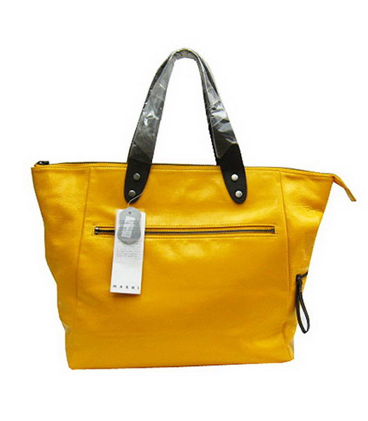 Marni Shiny Nappa Yellow Leather Shoulder Tote Handbag