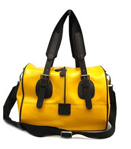 Marni Zip Textured Bag With Yellow Patent Leather