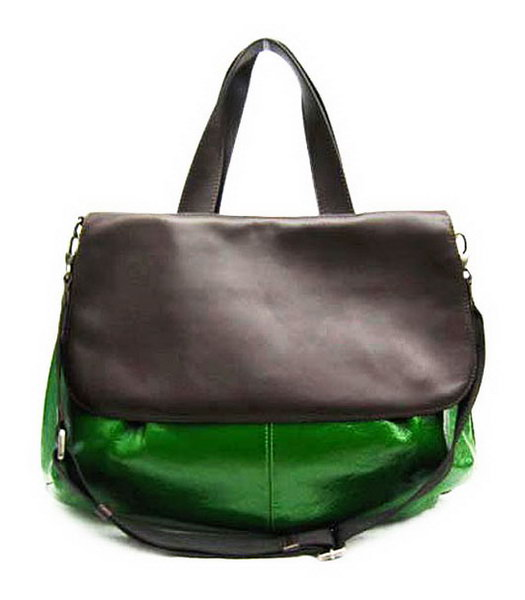 Marni Shiny Nappa Leather Flap Handle Bag Green