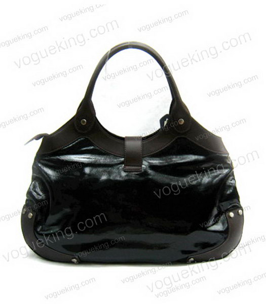 Marni Shiny Leather With Rugosity Hobo Bag Black-1