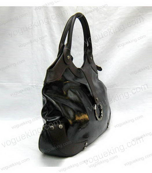 Marni Shiny Leather With Rugosity Hobo Bag Black-2