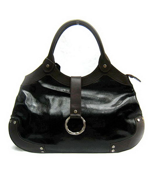 Marni Shiny Leather With Rugosity Hobo Bag Black