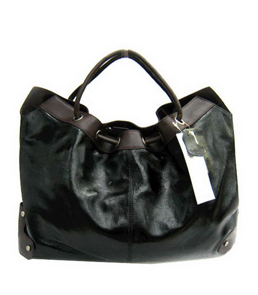 Marni Shiny Leather Handle Bag Black