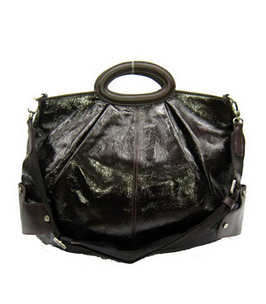 Marni Shiny Dark Coffee Patent Large Leather Balloon Bag