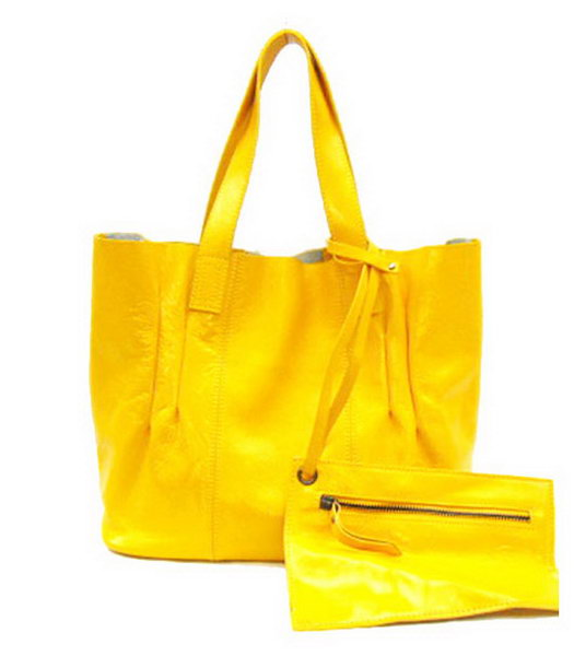 Marni Tote Shoulder Bag Yellow Leather
