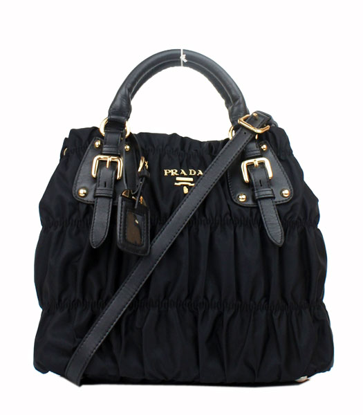 Prada Gaufre Fabric With Lambskin Leather Small Tote Bag Black