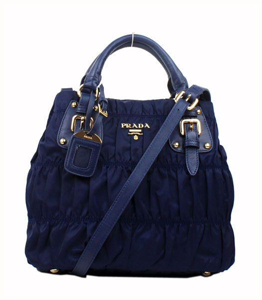 Prada Gaufre Fabric With Lambskin Leather Small Tote Bag Blue