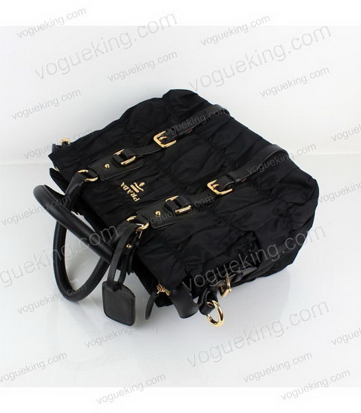 Prada Gaufre Small Black Fabric With Lambskin Leather Top Handle Bag-2