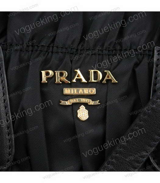 Prada Gaufre Small Black Fabric With Lambskin Leather Top Handle Bag-3