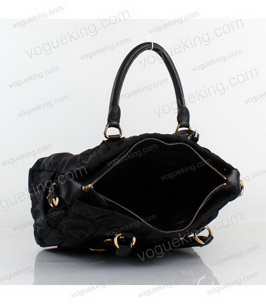 Prada Gaufre Small Black Fabric With Lambskin Leather Top Handle Bag-4