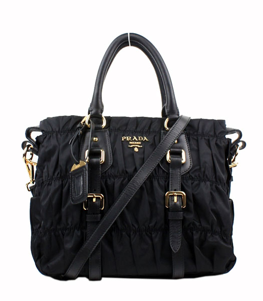 Prada Gaufre Small Black Fabric With Lambskin Leather Top Handle Bag