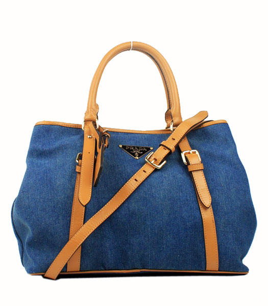 Prada Apricot Nappa Leather with Denim Fabric Tote Bag