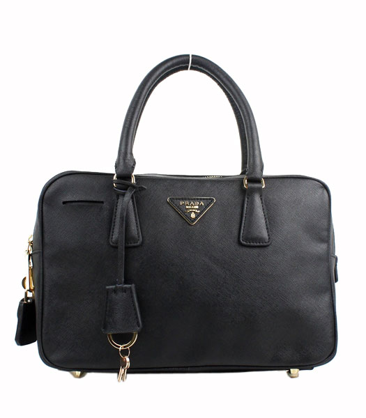 Prada Saffiano Black Calfskin Leather Top Handle Zip Bag