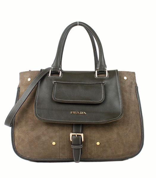 Prada Khaki Suede And Napa Leather Top Handle Bag