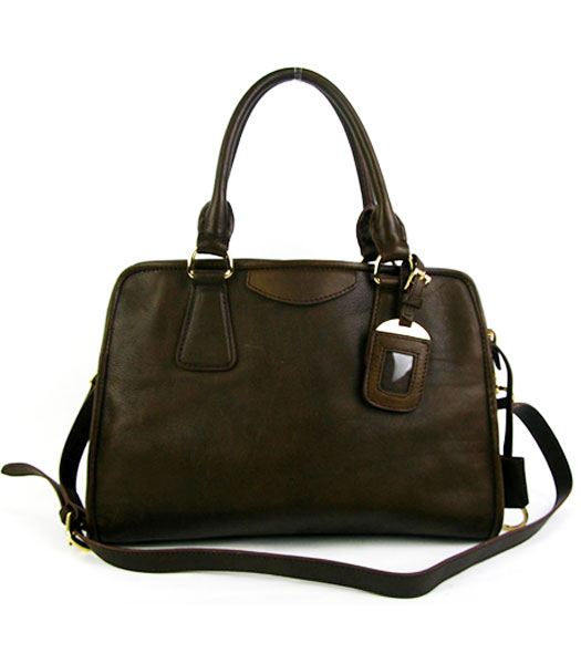Prada Saffiano Coffee Oil Leather Tote Bag