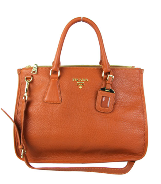 Prada Saffiano Orange Imported Leather Tote Handbag