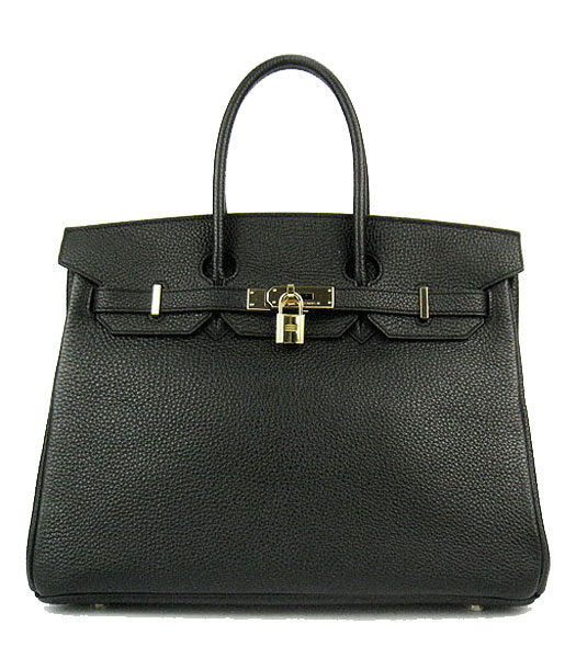 Hermes Birkin 35cm Black Original Leather Bag Golden Metal