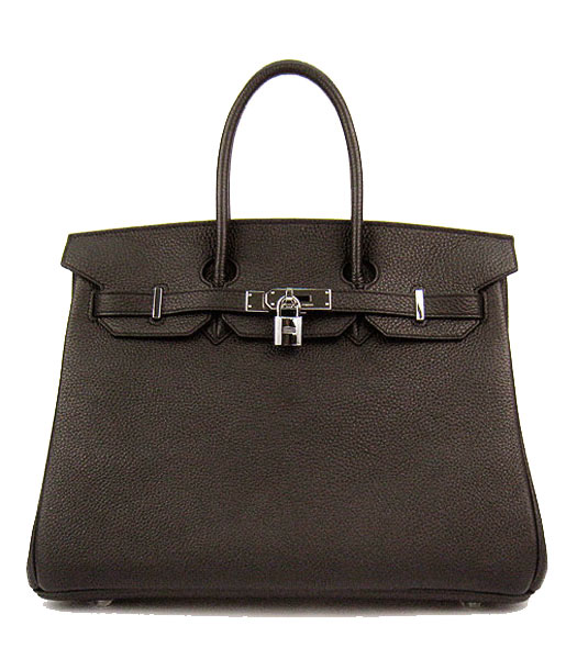 Hermes Birkin 35cm Dark Coffee Original Leather Bag Silver Metal
