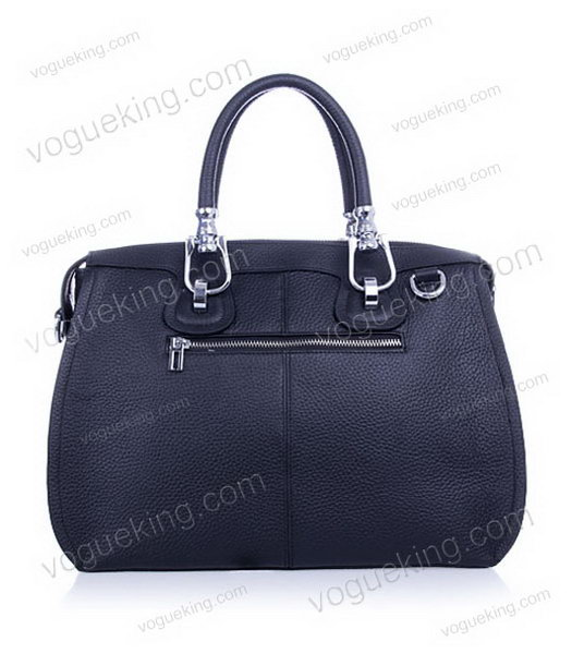 Hermes Medium Double-duty Black Togo Leather Bag Silver Metal-2