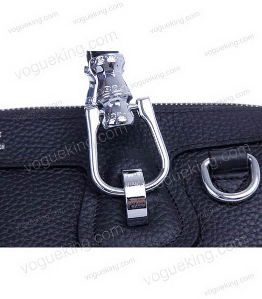 Hermes Medium Double-duty Black Togo Leather Bag Silver Metal-5