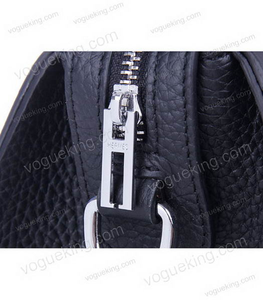 Hermes Medium Double-duty Black Togo Leather Bag Silver Metal-6