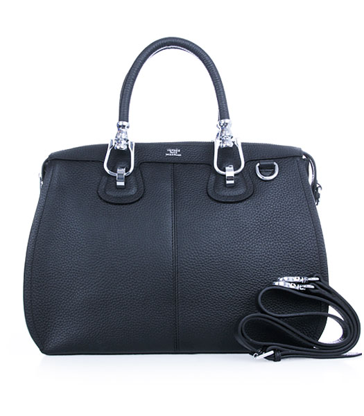 Hermes Medium Double-duty Black Togo Leather Bag Silver Metal