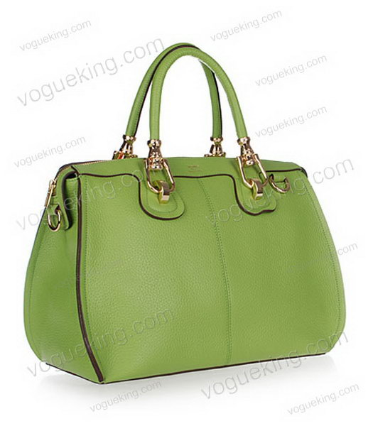 Hermes Medium Double-duty Green Togo Leather Bag Golden Metal-1
