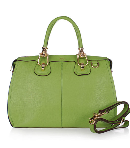 Hermes Medium Double-duty Green Togo Leather Bag Golden Metal